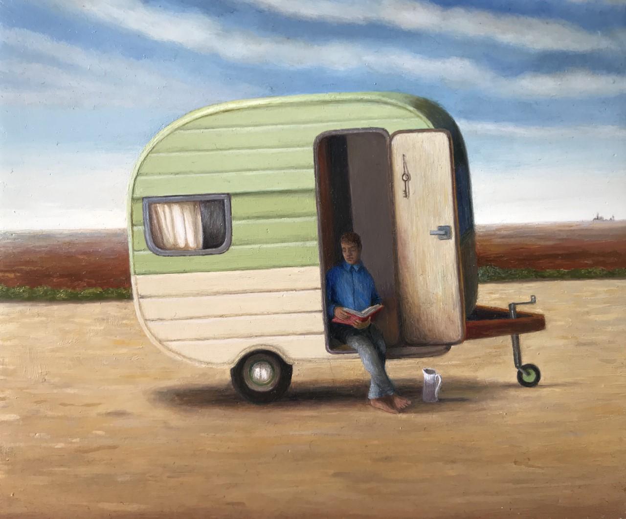 """'Caravan poem', 2017, oil on gessoed panel, 5"""" x 6"""""""