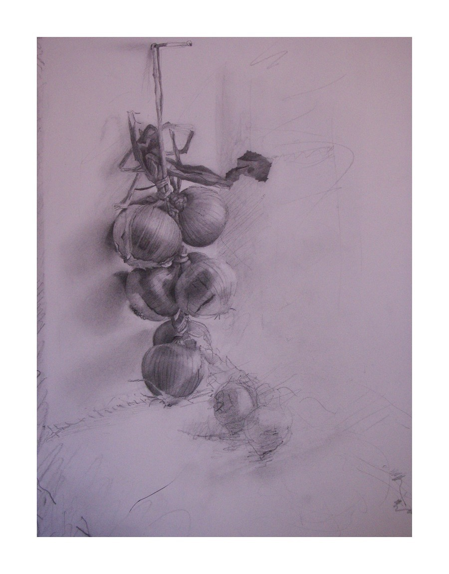 "'Onions', 2009, graphite on paper, 12"" x 9"""
