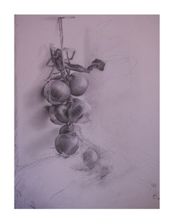 """'Onions', 2009, graphite on paper, 12"""" x 9"""""""