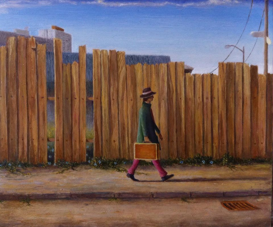 "'Mending fences', 2016, oil on gessoed panel, 5"" x 6"""