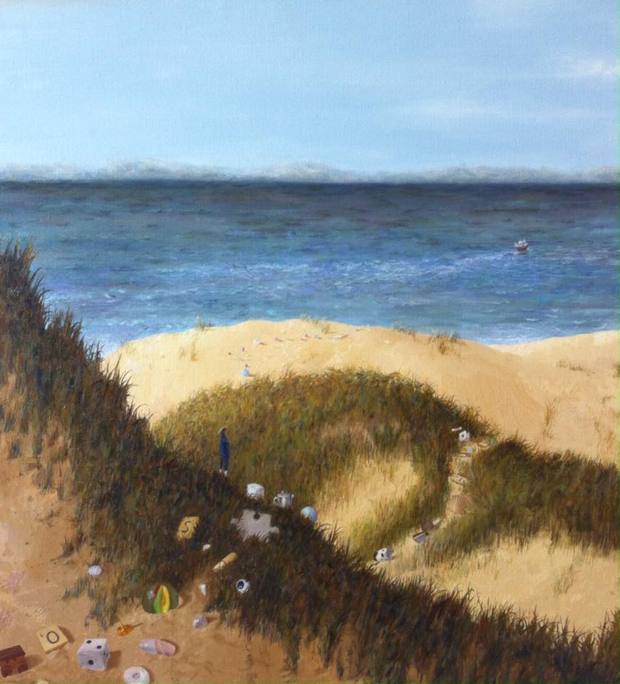 "'A path to the sea', 2015, oil on linen, 26"" x 24"""