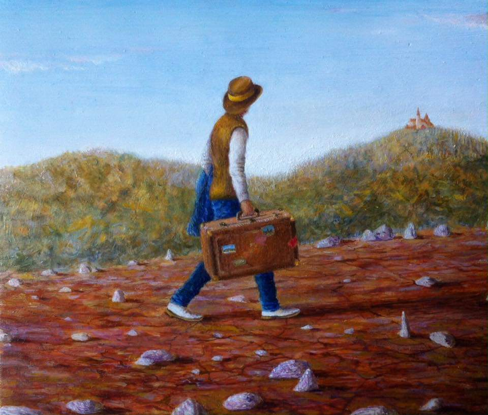 "'In the middle of the journey', 2016, oil on gessoed panel, 5"" x 6"""