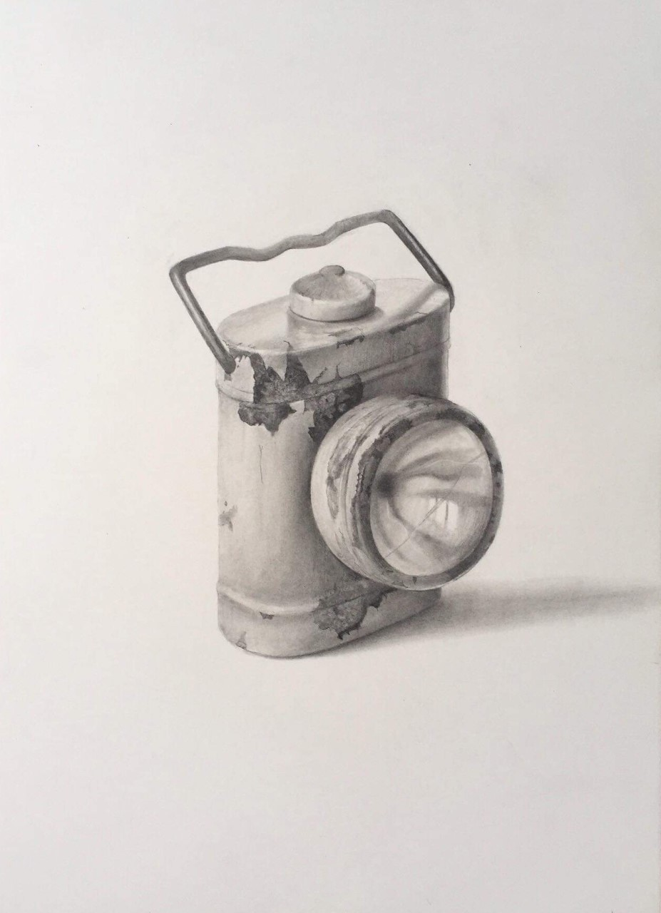 "'Lamp', 2017, graphite on paper, 14"" x 10"""