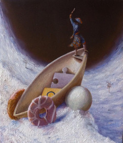 """'Until the wheels come off', 2014, oil on gessoed panel, 6"""" x 5"""""""