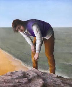 """'Beachcomber', 2020, oil on gessoed panel, 6"""" x 5"""""""