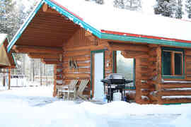 cabin snowy roof