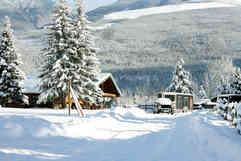 Winter log cabins
