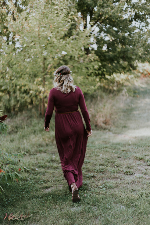 Burgundy Long Sleeve Belted Maternity Maxi