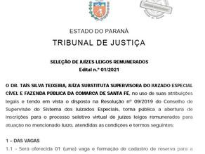 Seleção de juízes leigos remunerados na Comarca de Santa Fé