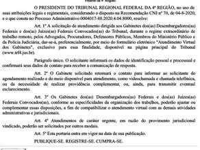 TRF4 regulamenta atendimento remoto