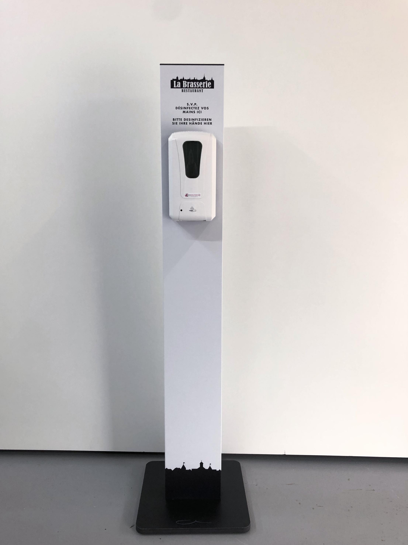 Desinfektions-Dispenser mit Standfuss gebrandet