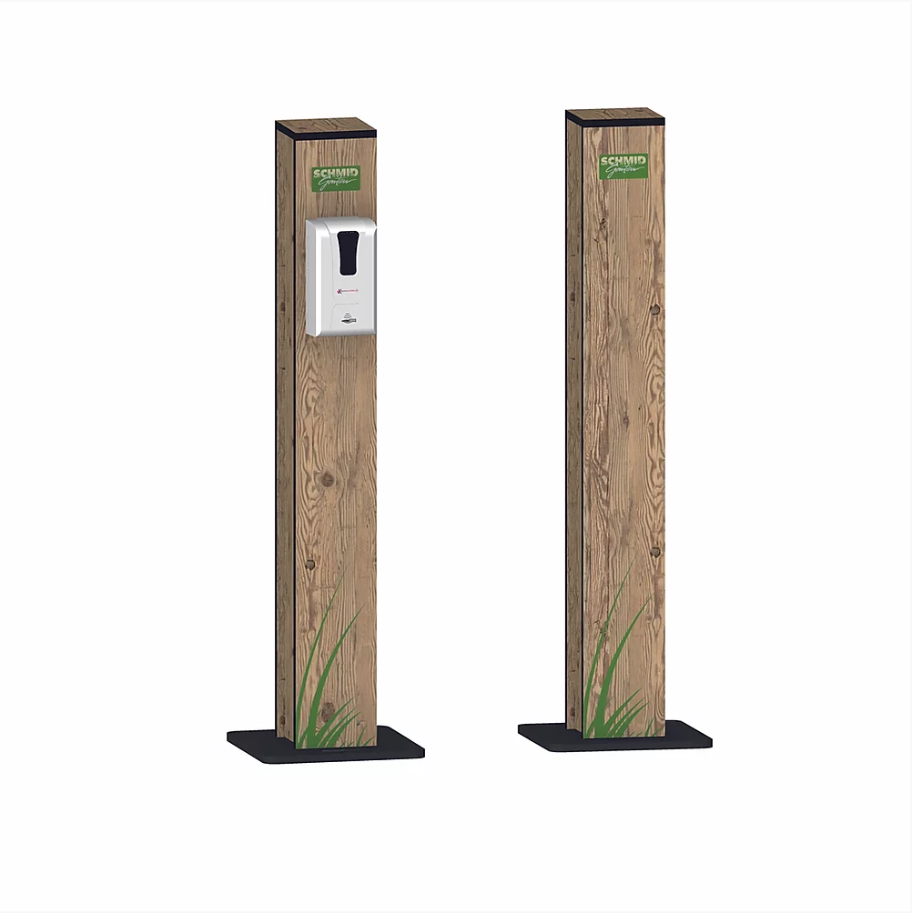 Desinfektions-Dispenser mit Standfuss Holz