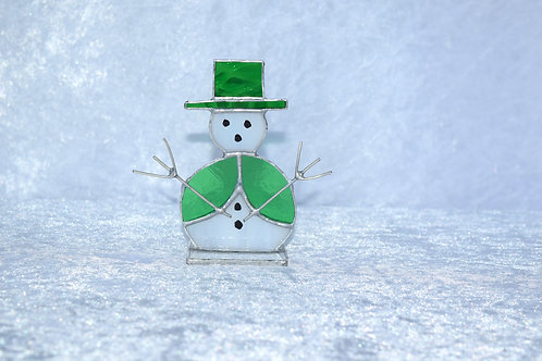 Stained Glass Snowman in Green Top Hat by Pam Holmes