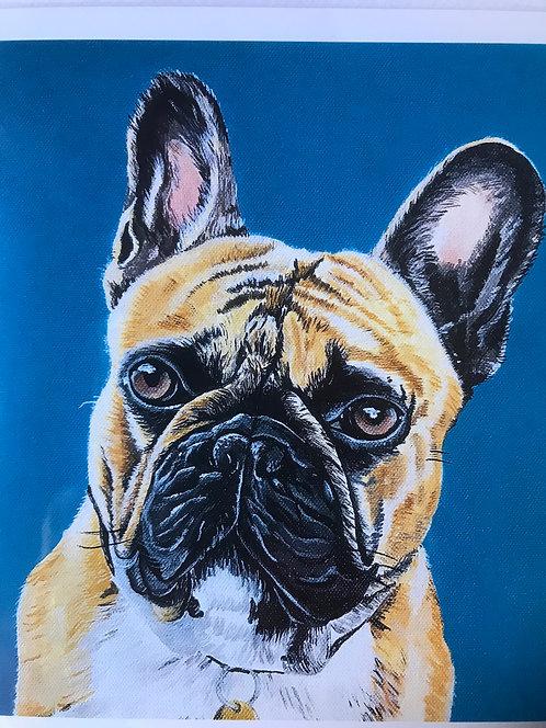 Bulldog Greetings Card by Jayne Crow