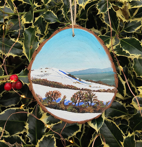 Wolstonbury Hill in Snow painted wood slice by Emily Grocott