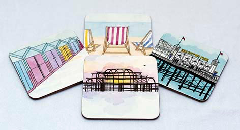Set of Four 'Brighton' Coasters by Clare Harms