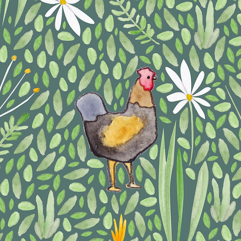 Chicken Greetings Card by Samantha Hall