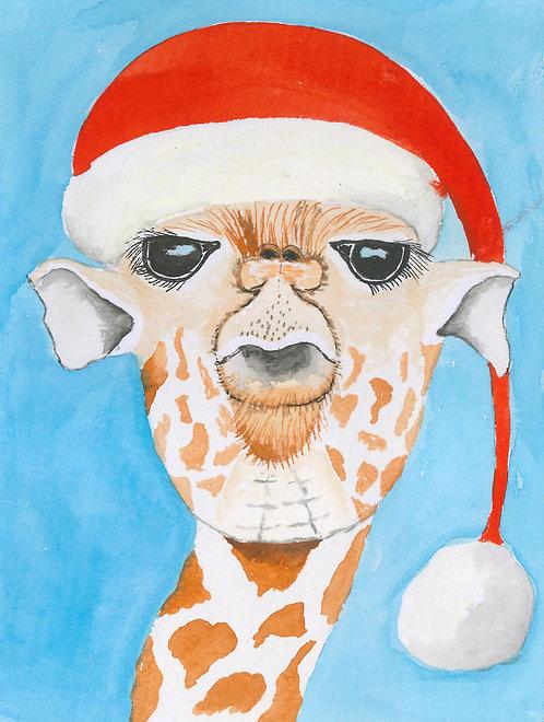 Cheeky Christmas Giraffe Greetings Card by Jayne Crow