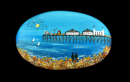 Palace Pier Brighton painted pebble by Serena Sussex