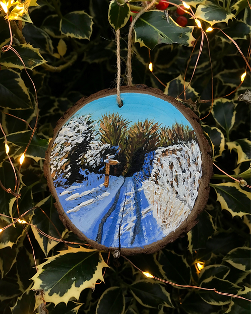Snowy Lane to Jack & Jill painted wood slice by Emily Grocott