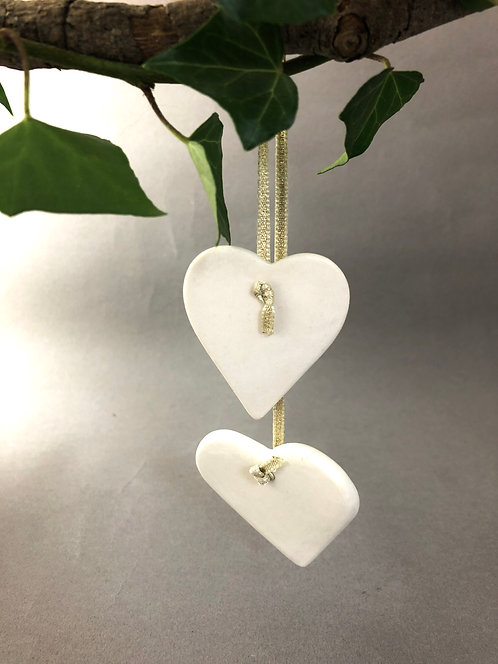 Porcelain Heart Christmas Tree Decoration by Kate McMinnies