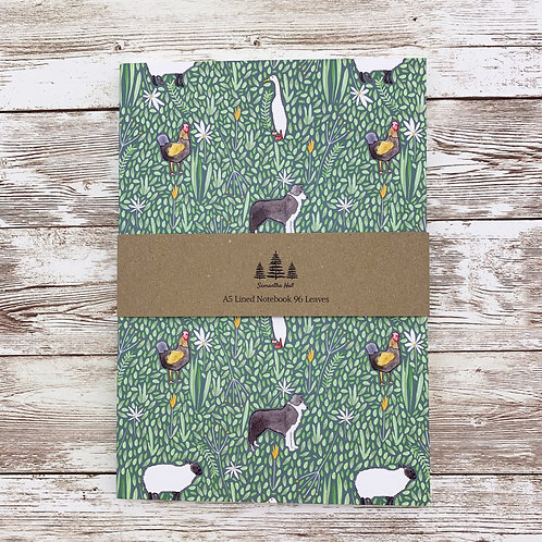 Farm Animals A5 Lined Notebook by Samantha Hall