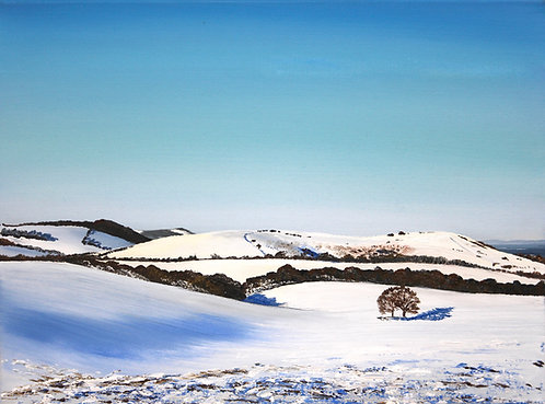 Greetings card of Wolstonbury Hill in Snow by Emily Grocott