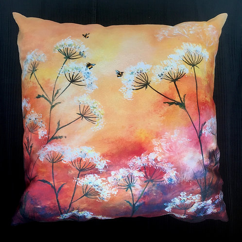 Bees Feeding on Cow Parsley Flowers Cushion by Serena Susse