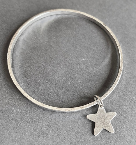 Sterling Silver Star Charm Bangle by Alison Crowe