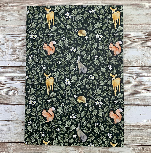 A5 notebook with woodland print by Samantha Hall