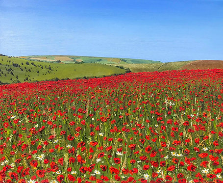 Giclee Print of Poppies Over the Downs by Emily Grocott