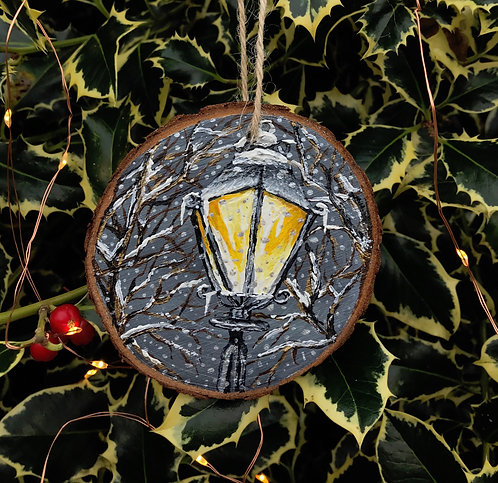 In the Bleak Midwinter painted wood slice by Emily Grocott