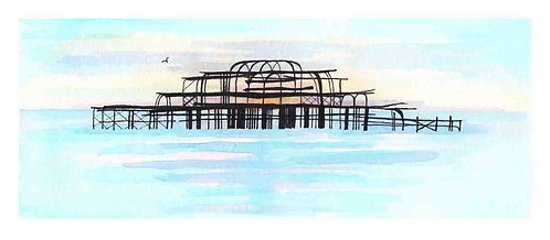 West Pier Calm print by Clare Harms
