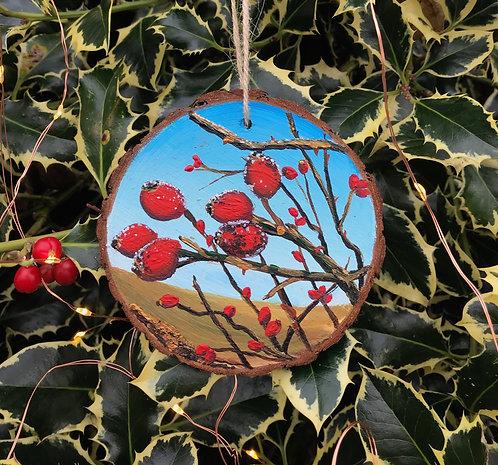 December Berries painted wood slice by Emily Grocott