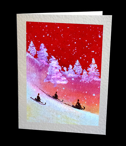 Greetings Card Sledging Down the Hill by Serena Sussex