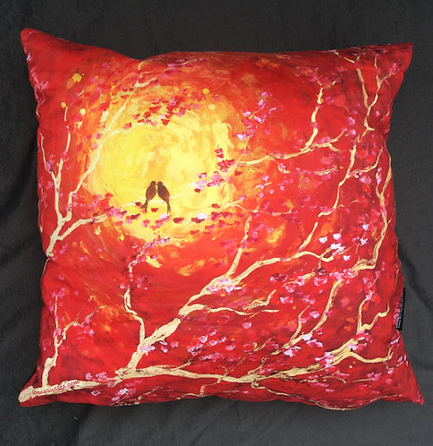 Lovebirds at Sunset Cushion by Serena Susse