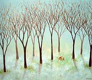 Woodland Foxes 80x60cm-Serena-Sussex-Art