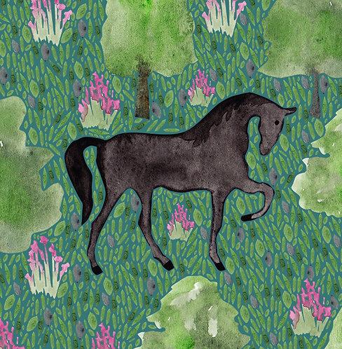 Black Friesian Horse Greetings Card by Samantha Hall