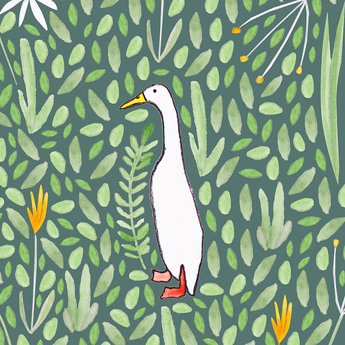 Runner Duck Greetings Card by Samantha Hall