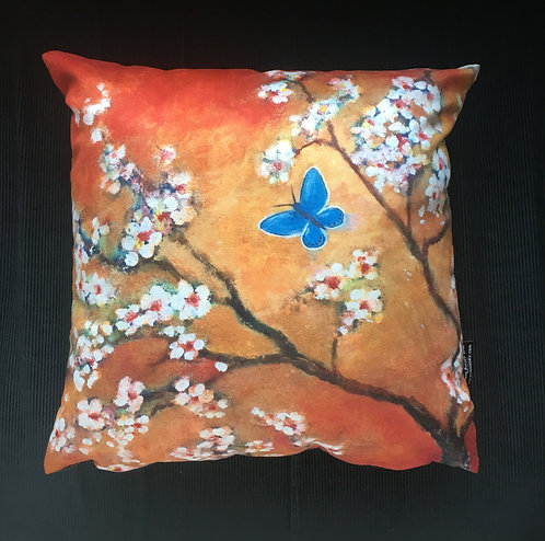 Common Blue butterfly and Blossom Cushion by Serena Susse