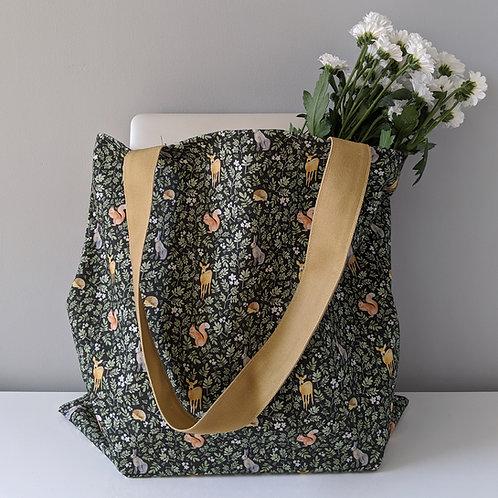 Tote bag with woodland print by Samantha Hall