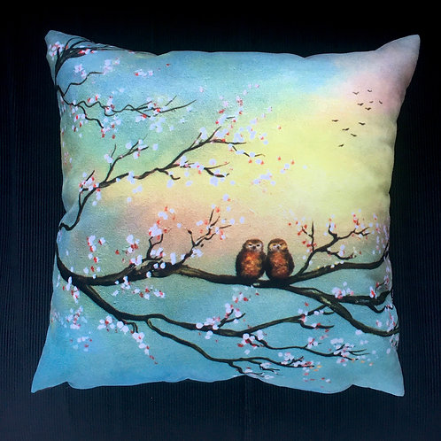 Owls in Spring Cushion by Serena Sussex