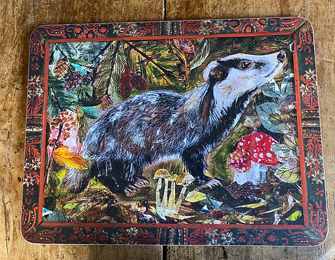 Winter Badger Chopping Board by Clare O'Neill
