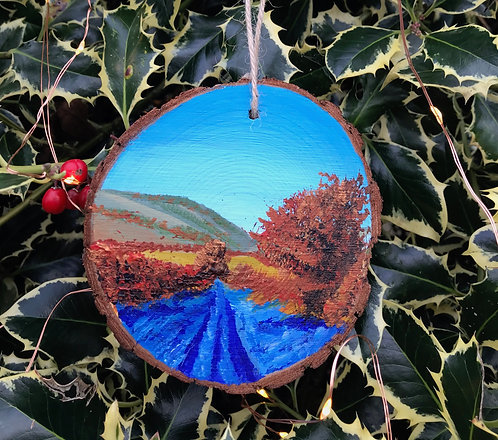 Frosty December Sunrise painted wood slice by Emily Grocott