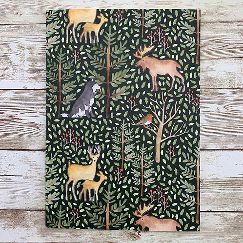 A5 notebook with animals of the forest print by Samantha Hall
