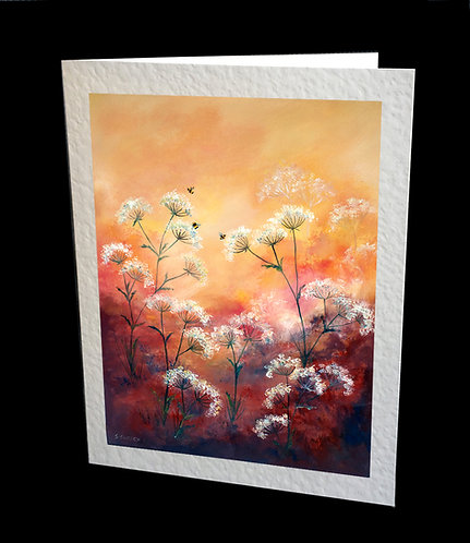 Bees & Cow Parsley Flowers Greetings Card by Serena Sussex
