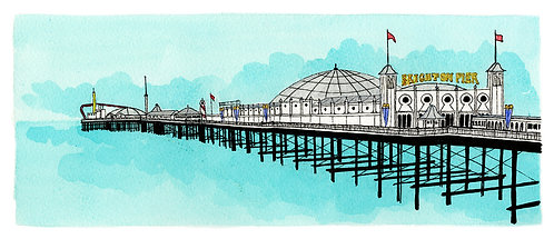 Greetings Card Pier Turquoise by Clare Harms