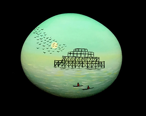 Boating by the West Pier painted pebble by Serena Sussex