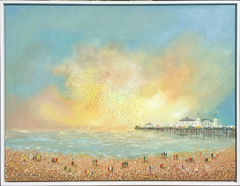 Starlings and boats around the Pier by Serena Sussex