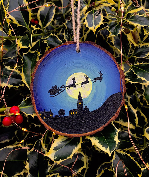 The Night Before Christmas painted wood slice by Emily Grocott
